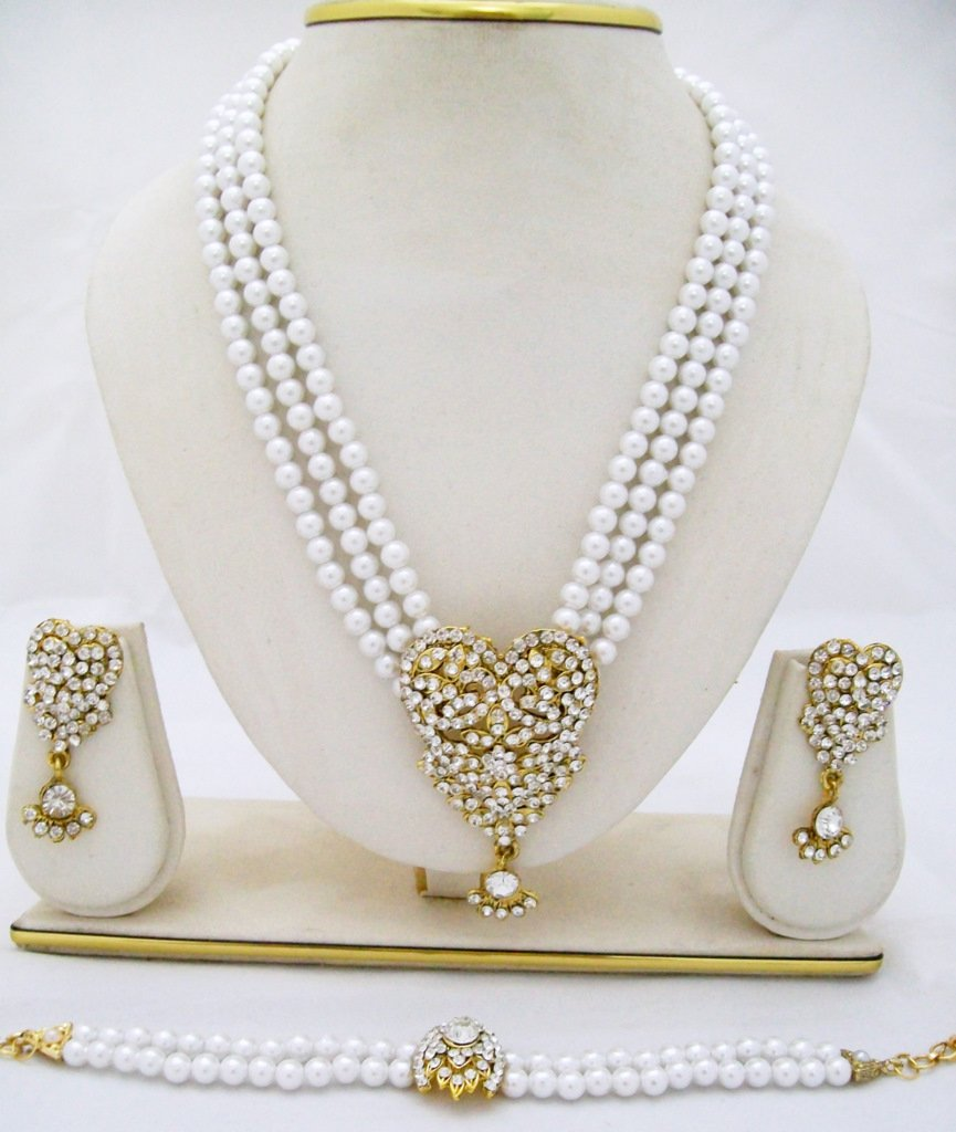 Heart 3 Row Pearl Rhinestone Necklace Earring Bracelet Set