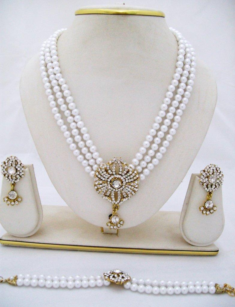 3 Row Pearl Rhinestone Necklace Earring Bracelet Set
