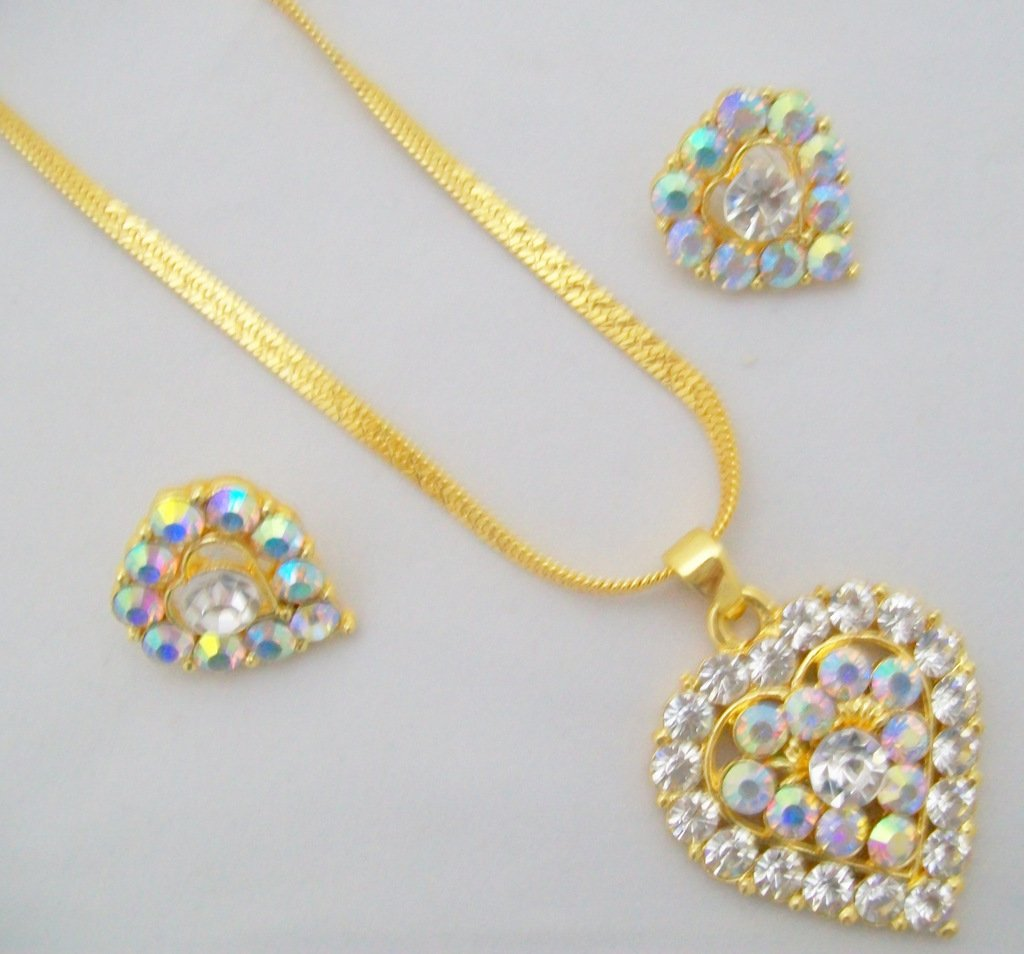 Large Clear Rhinestone CZ Heart Pendant Necklace Jewelry Set Vintage Fashion