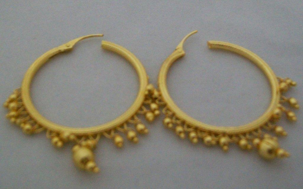 Beads Gold Plated Hoop Circle Earrings