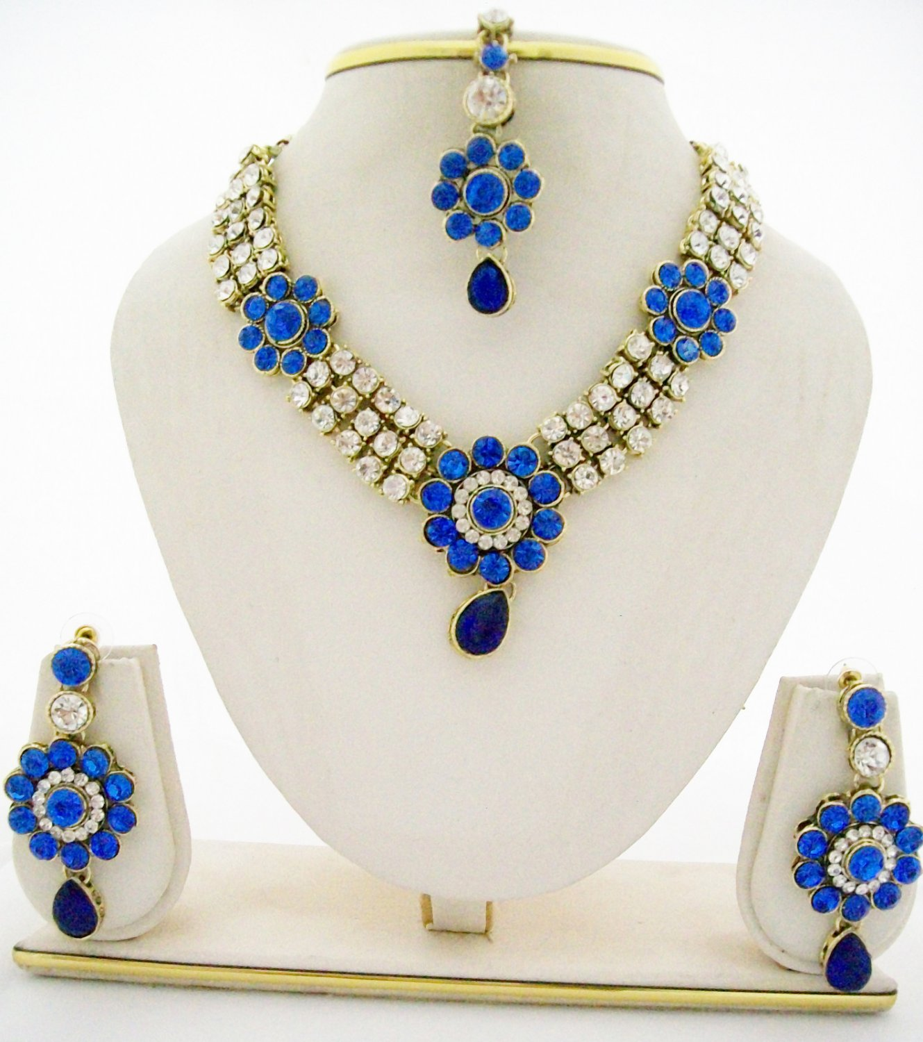 Royal Blue and Clear Rhinestone Necklace Earring Prom Jewelry Set