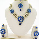 Dark Royal Blue CZ Crystal Rhinestone Necklace Pageant Jewelry Set