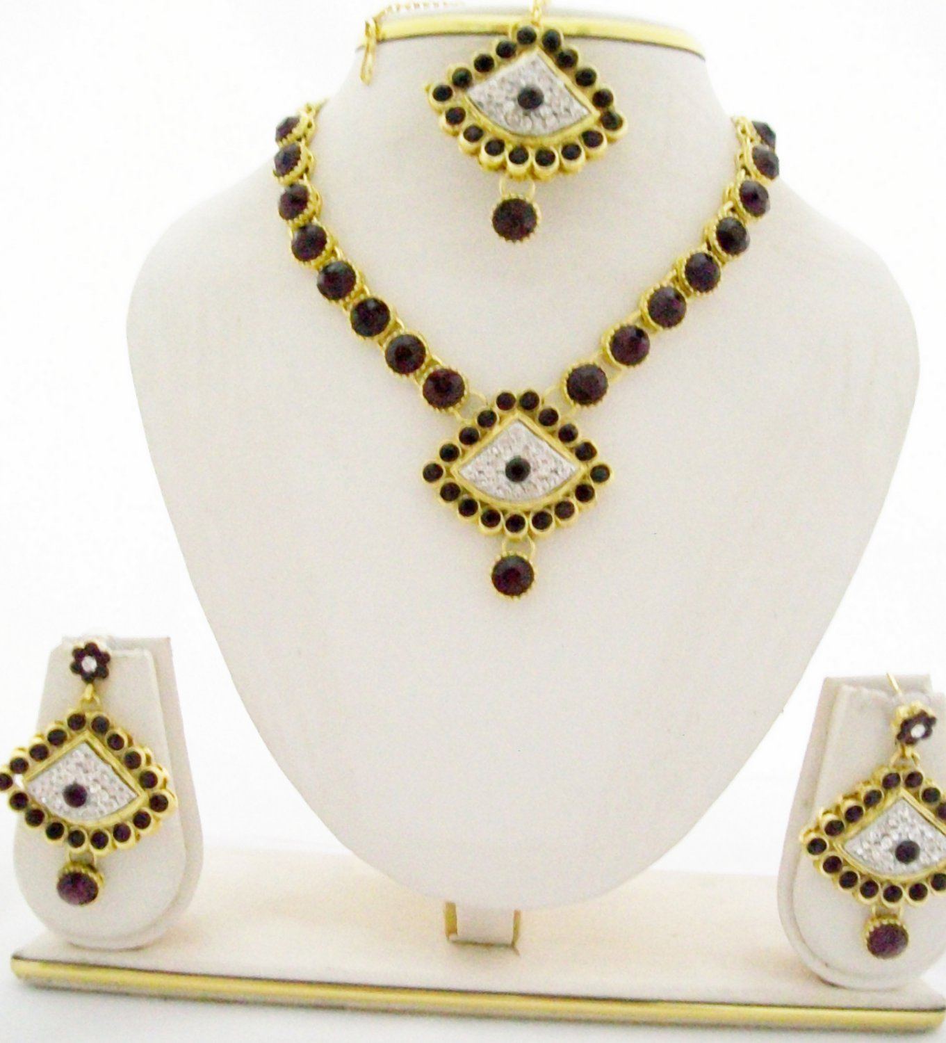 Purple Crystal Rhinestone Necklace Wedding Jewelry Set