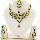 Tear Drop Green Crystal Rhinestone Necklace Earring Tikka Set