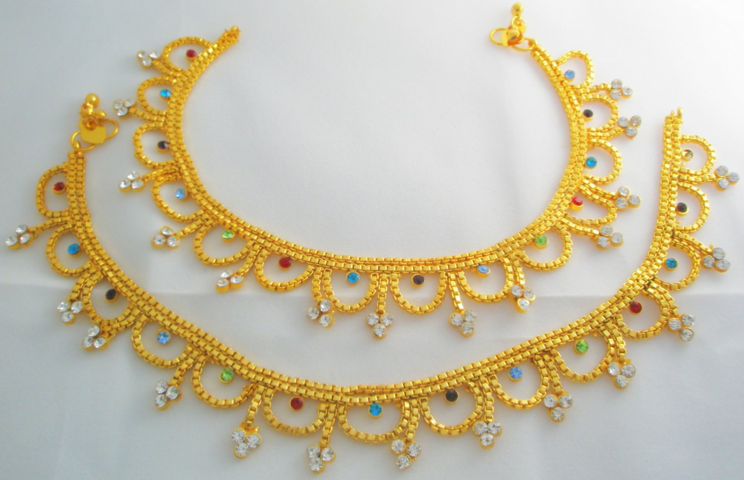 Multicolor Indian Gold Plated Anklets Pair Layered Design