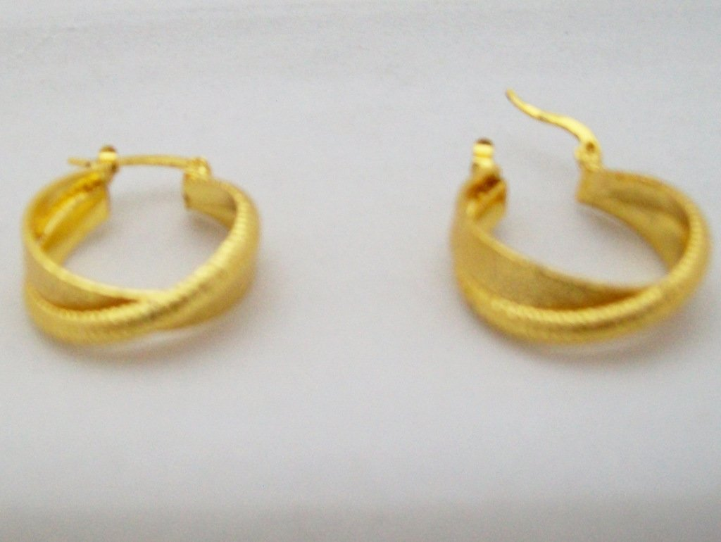 Gold Plated Double Hoop Huggie Crossover Earrings Pair