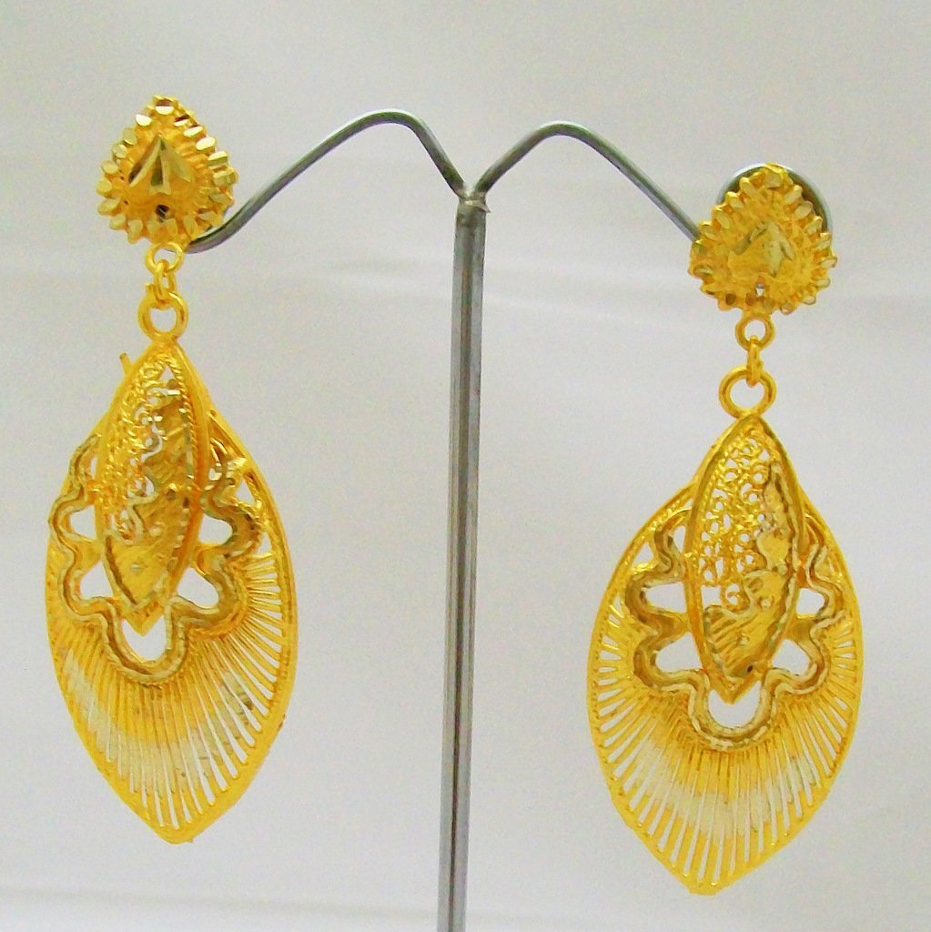 Statement Filigree Gold Plated Dangle Chandelier Earrings Pair