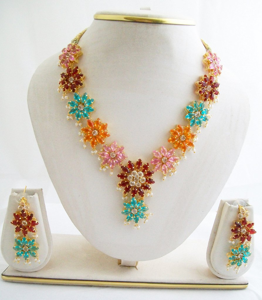 Multi Colored Floral Flower Rhinestone Necklace Set for Sale