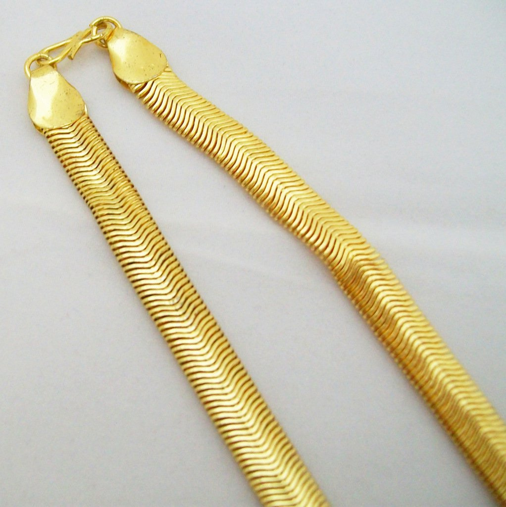 Herringbone Link Chain Necklace 22k Yellow Gold Plated Hip Hop Jewelry Mens Womens