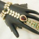 One Ring Rhinestone Slave Bracelet Pair Indian Fashion Jewellery