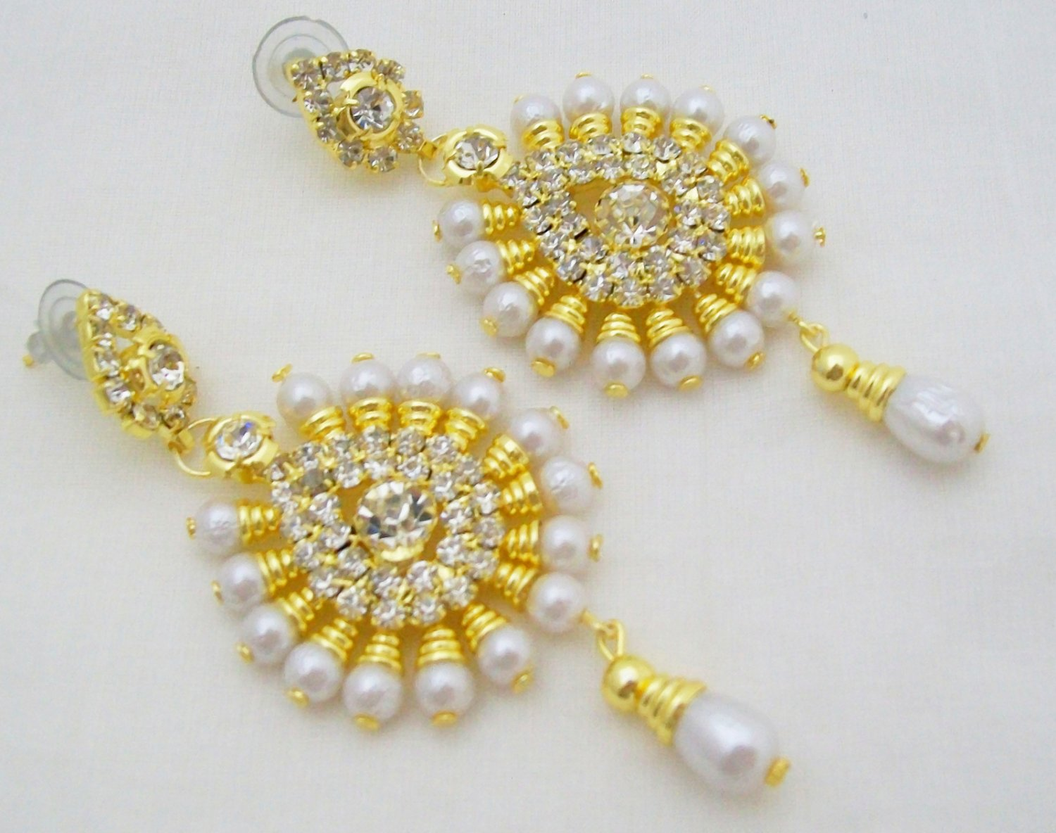 Womens Fashion Pearl Rhinestone Drop Stud Dangle Earrings Pair