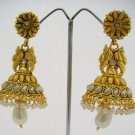 White Pearl Kundan Jhumka Earrings Set Traditional South Indian Antique Temple Jewellery