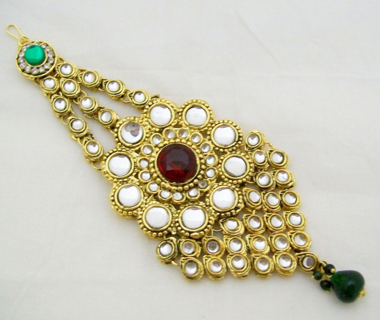 Big Indian Jhumar Kundan Tikka Bridal Hair Decoration Ornament