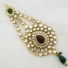Large Kundan Jhoomar Passa Side Tikka Indian Bridal Hair Fashion