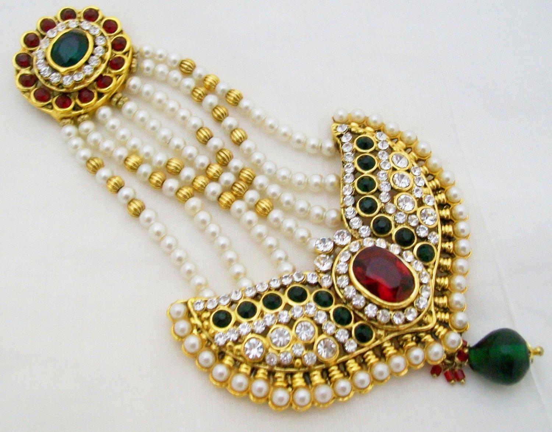 Large Pearl Kundan Jhoomar Bridal Headpiece Jewellery