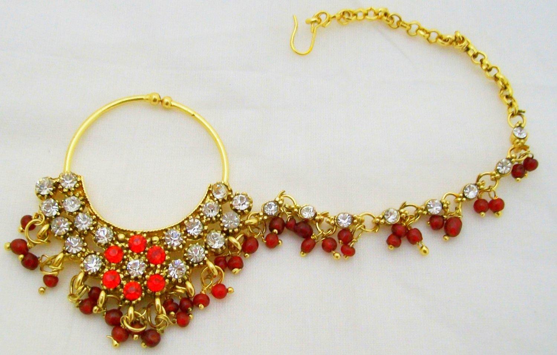 rhinestone indian bridal nath nathni clipon nose pin ring