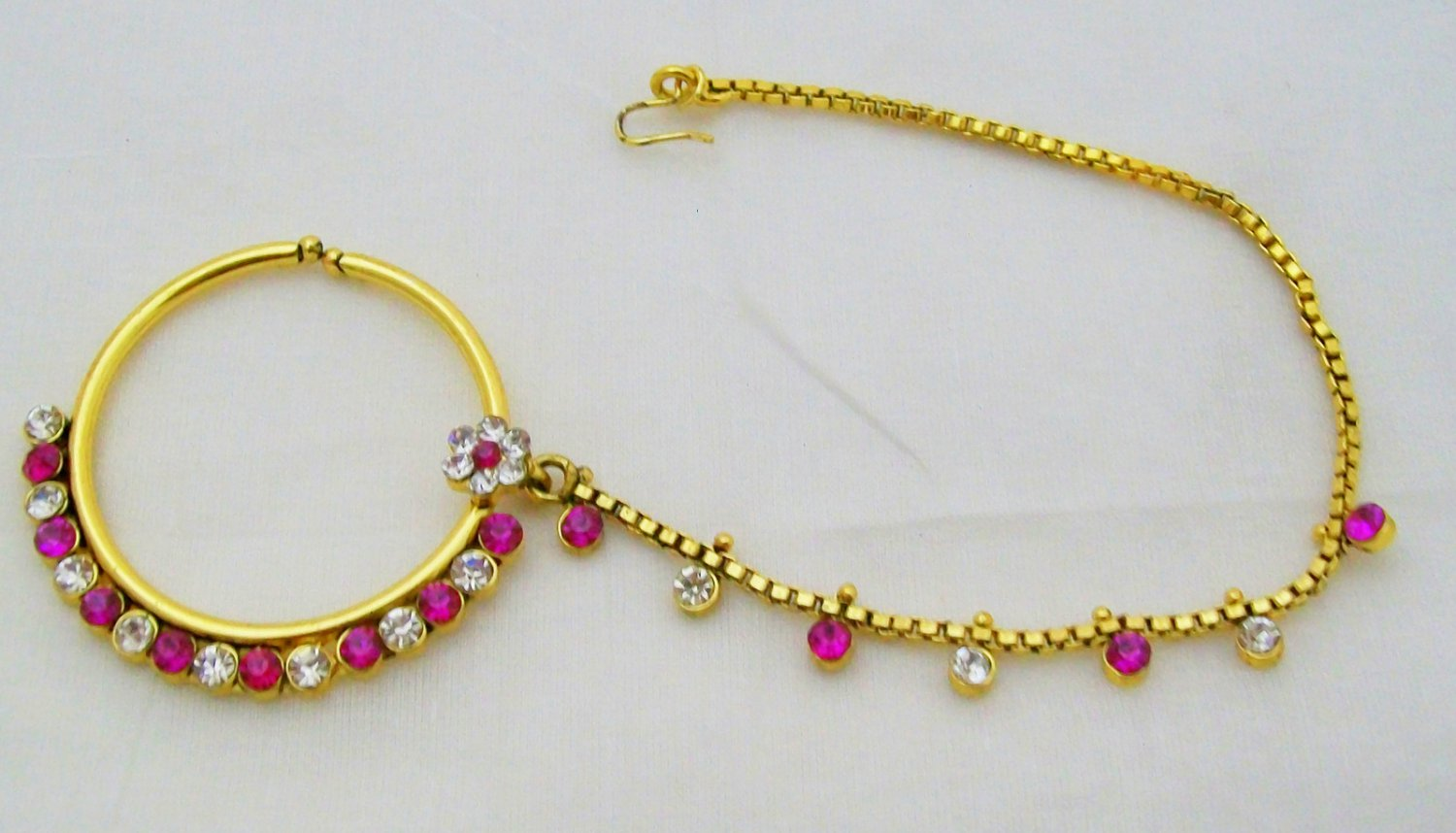 Clip On Nath Nose Ring Hoop Chain Indian Bridal Wedding Rhinestone Jewelry Big