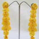 Long Filigree Gold Plated Dangle Chandelier Drop Earrings