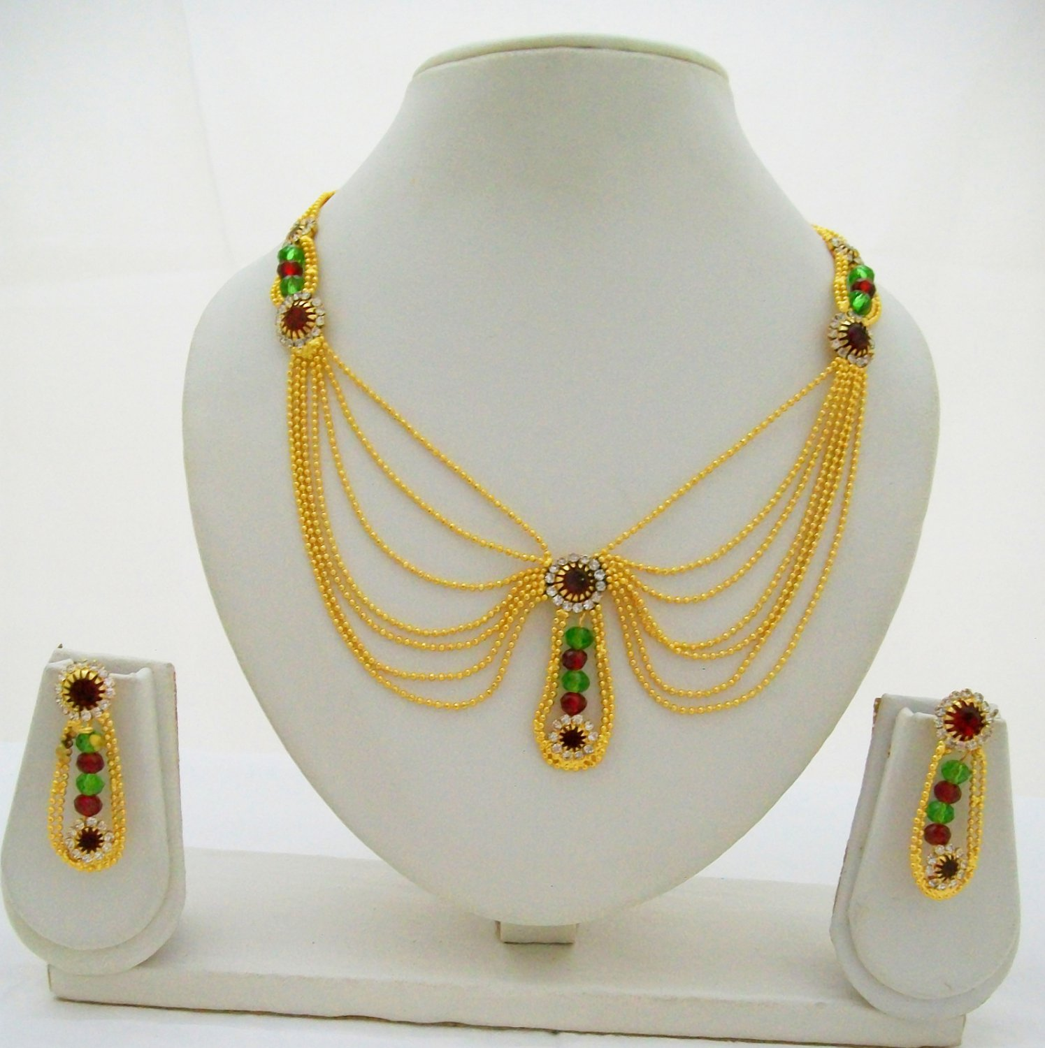 Beads Chain Gold Plated Necklace Multi Strand Layer Yellow Metal