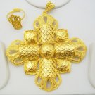 4Pc Large Cross Gold Plated Metal Indian Filigree Pendant Earring Jewelry Set