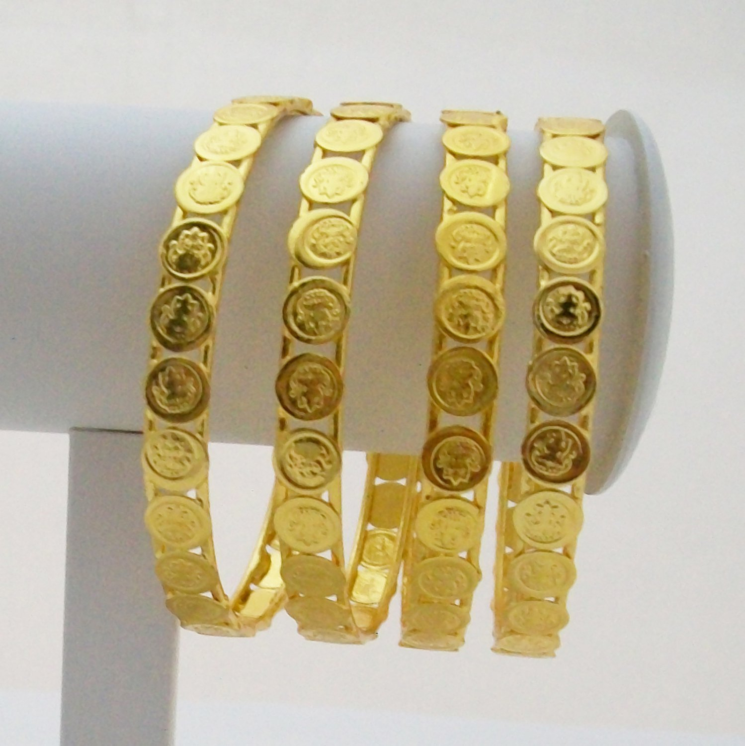 Lakshmi Coin Design Gold Plated Bangles Set Laxmi Kasu South Indian Temple Jewelry