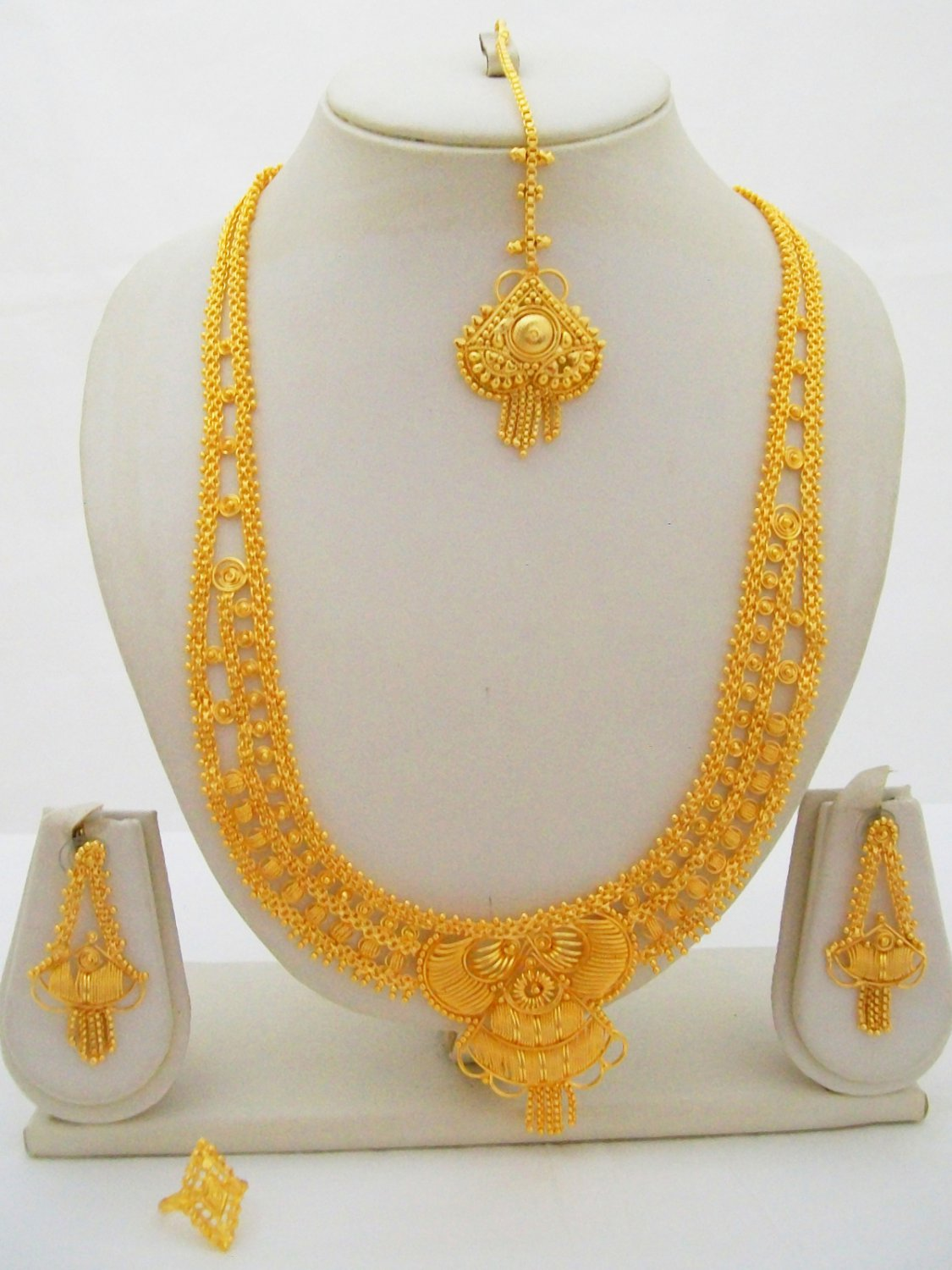 Yellow Gold Plated Indian Rani Haar Necklace Bridal Long Filigree Jewelry Set