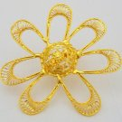 Indian Filigree Gold Plated Ring Big Ladies Handmade Artisan Celebrity Style