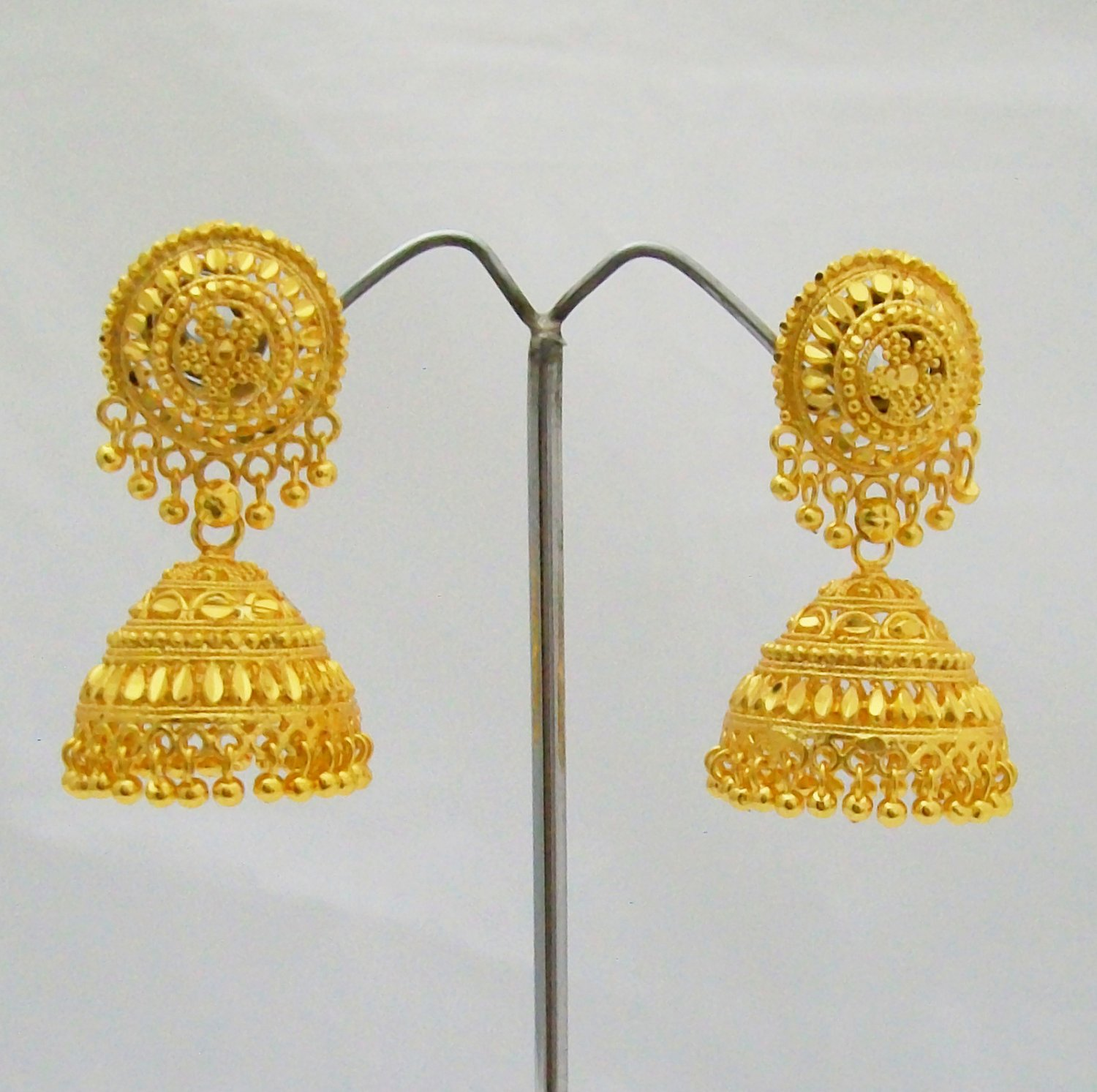 Yellow Gold Plated Jhumka Earrings Indian Temple Jewellery Antique Vintage