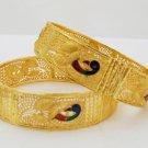 Peacock Filigree Gold Plated Bangle Bracelet Set Indian Jaipur Meenakari Jewelry