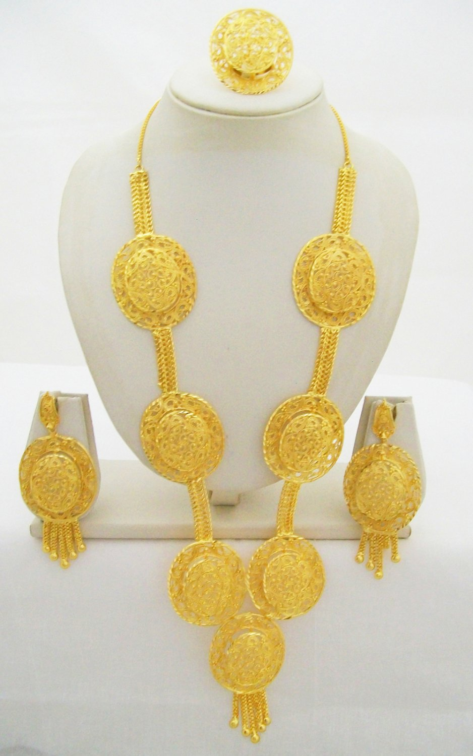 Rani Haar Filigree Gold Plated Long Necklace Antique Indian Wedding Bridal Jewelry Set
