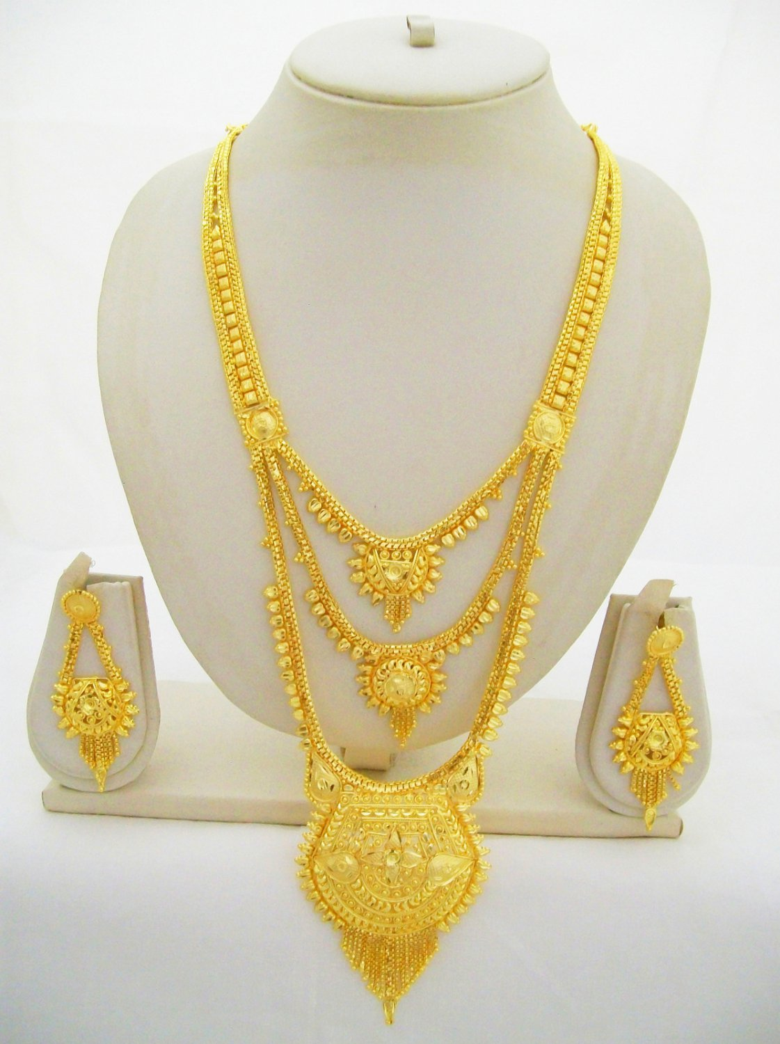 3 Layered Gold Plated Rani Haar Indian Asian Wedding Bridal Ethnic Jewellery Set