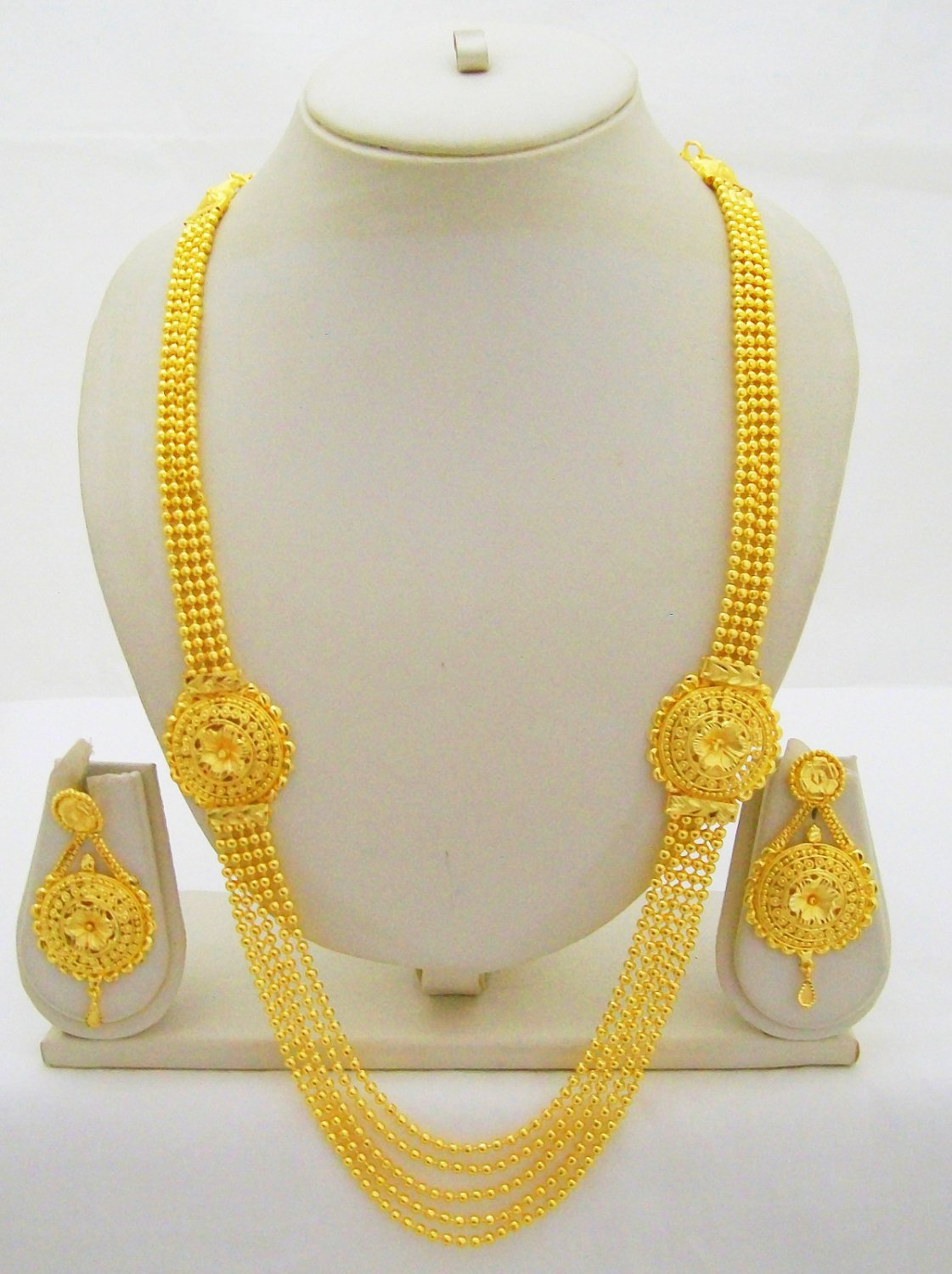 Gold Plated Indian Rani Haar Necklace Beads Chain Long Layered Bridal Jewelry Set