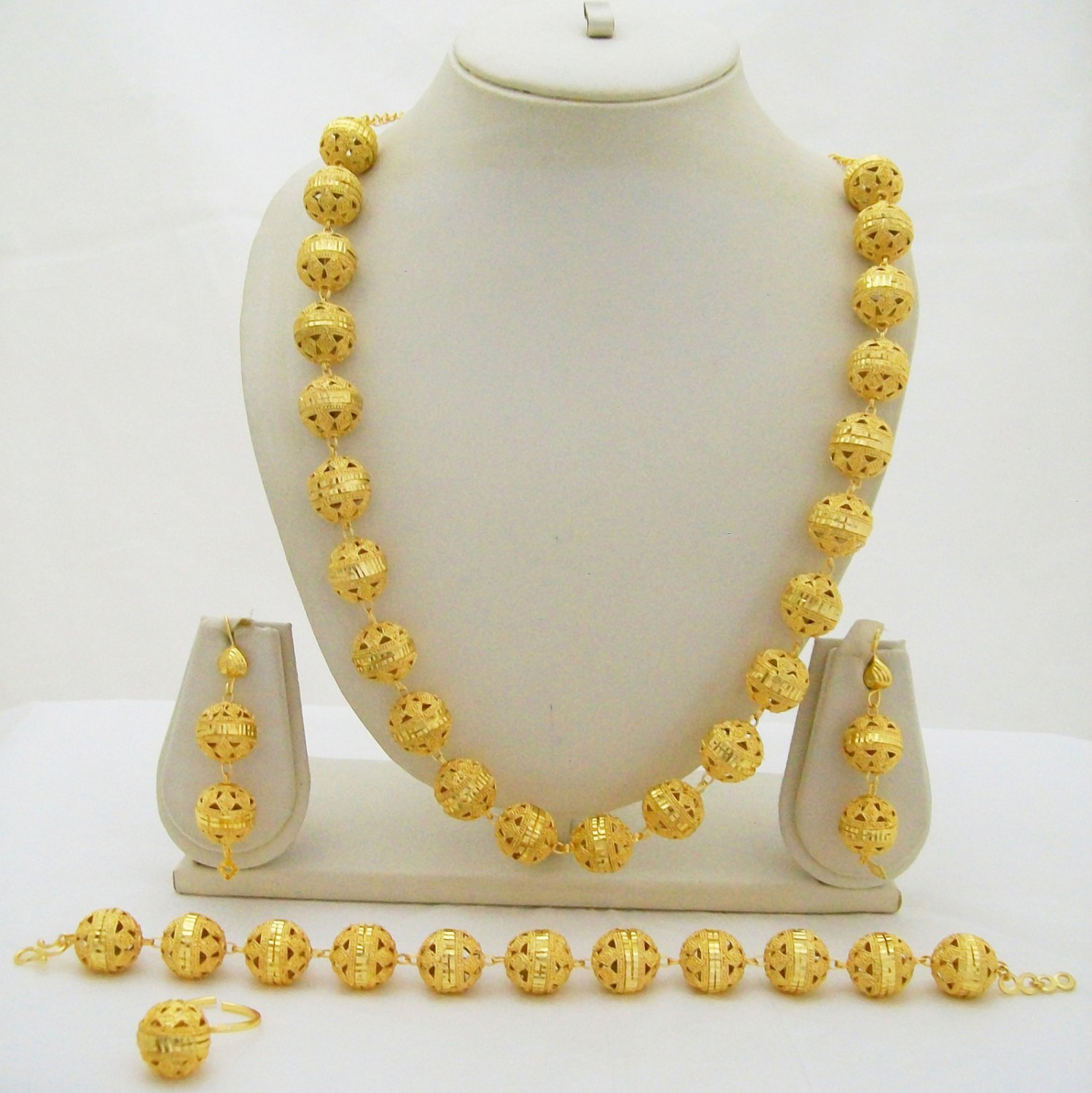 Filigree Bead Gold Plated Necklace Long Chain Link Vintage Indian Jewelry Set