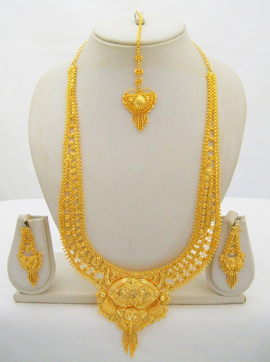 Gold Plated Indian Rani Haar Necklace Bridal Long Filigree Ethnic Jewelry Set