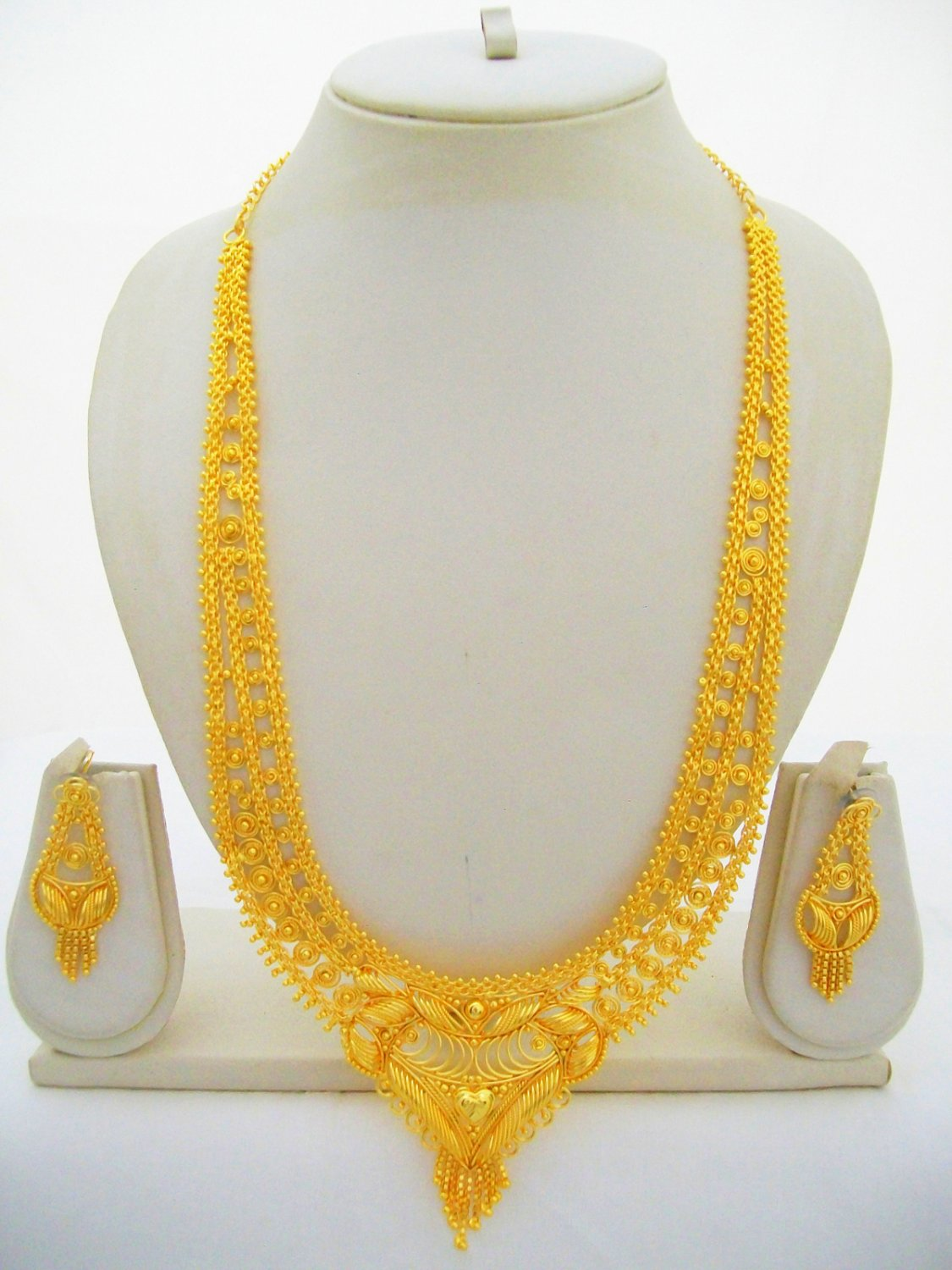22k Gold Plated Rani Haar Indian Wedding Long Necklace Jewelry Set