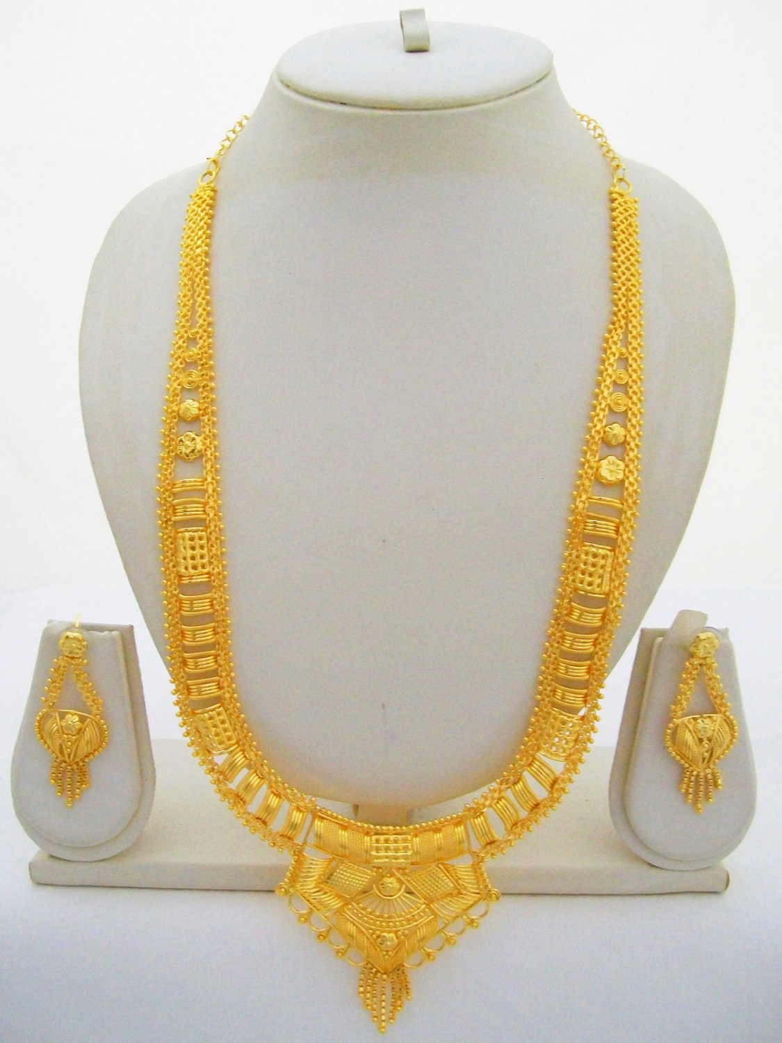 Rani Haar Gold Plated Necklace Vintage Indian Filigree Long Jewelry Set
