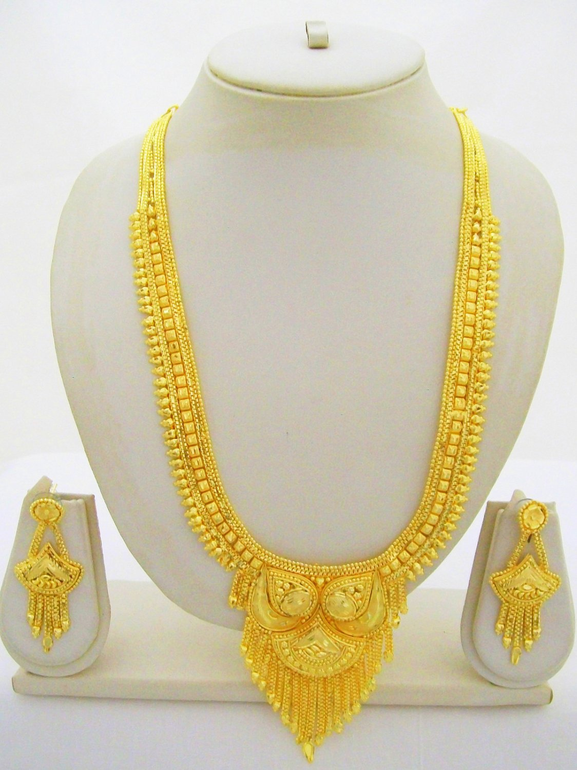 Rani Haar Gold Plated Necklace Antique Indian Filigree Long Jewelry Set