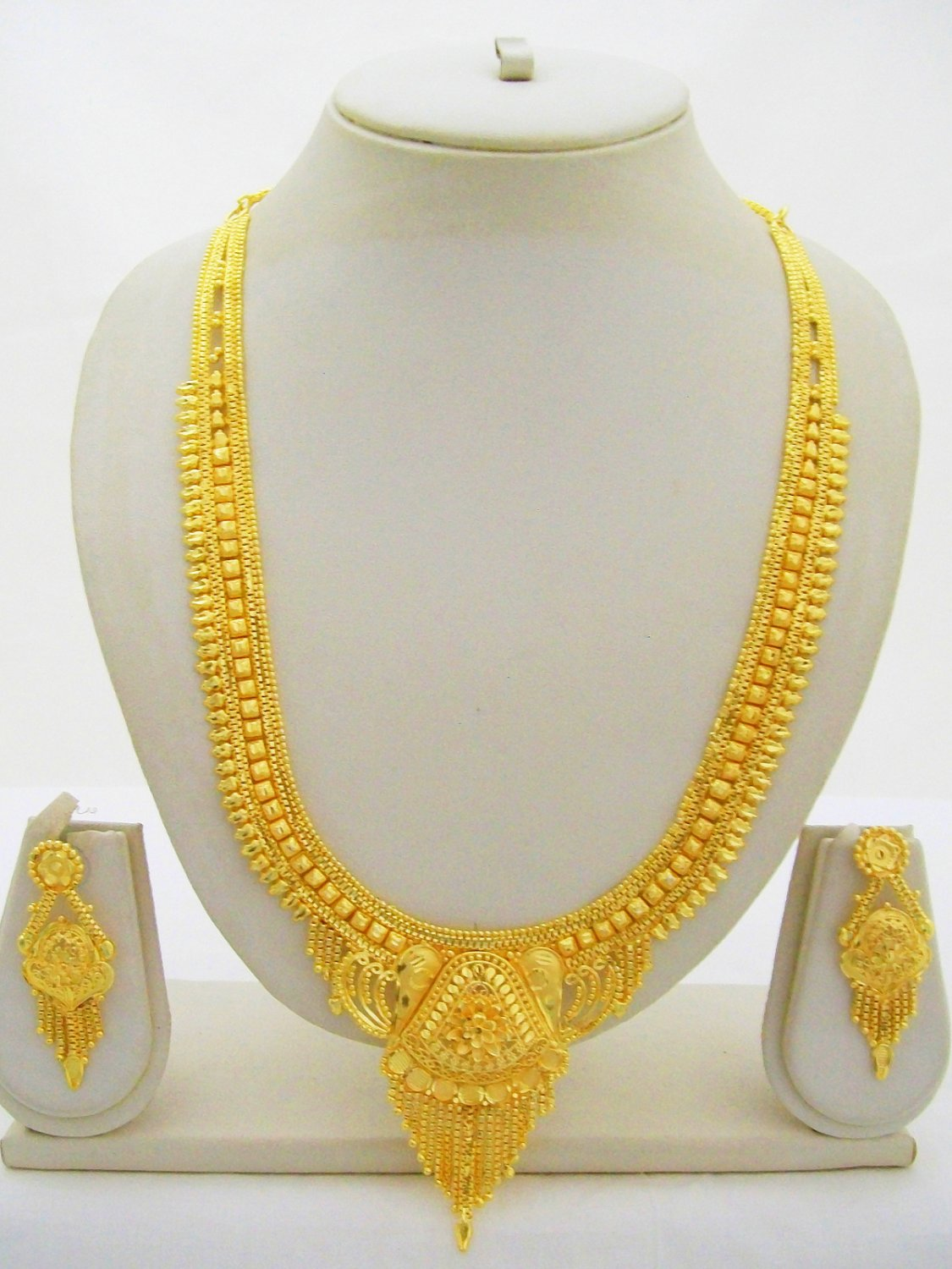 Gold Plated Indian Rani Haar Necklace Long Bridal Wedding Jewelry Set Ethnic