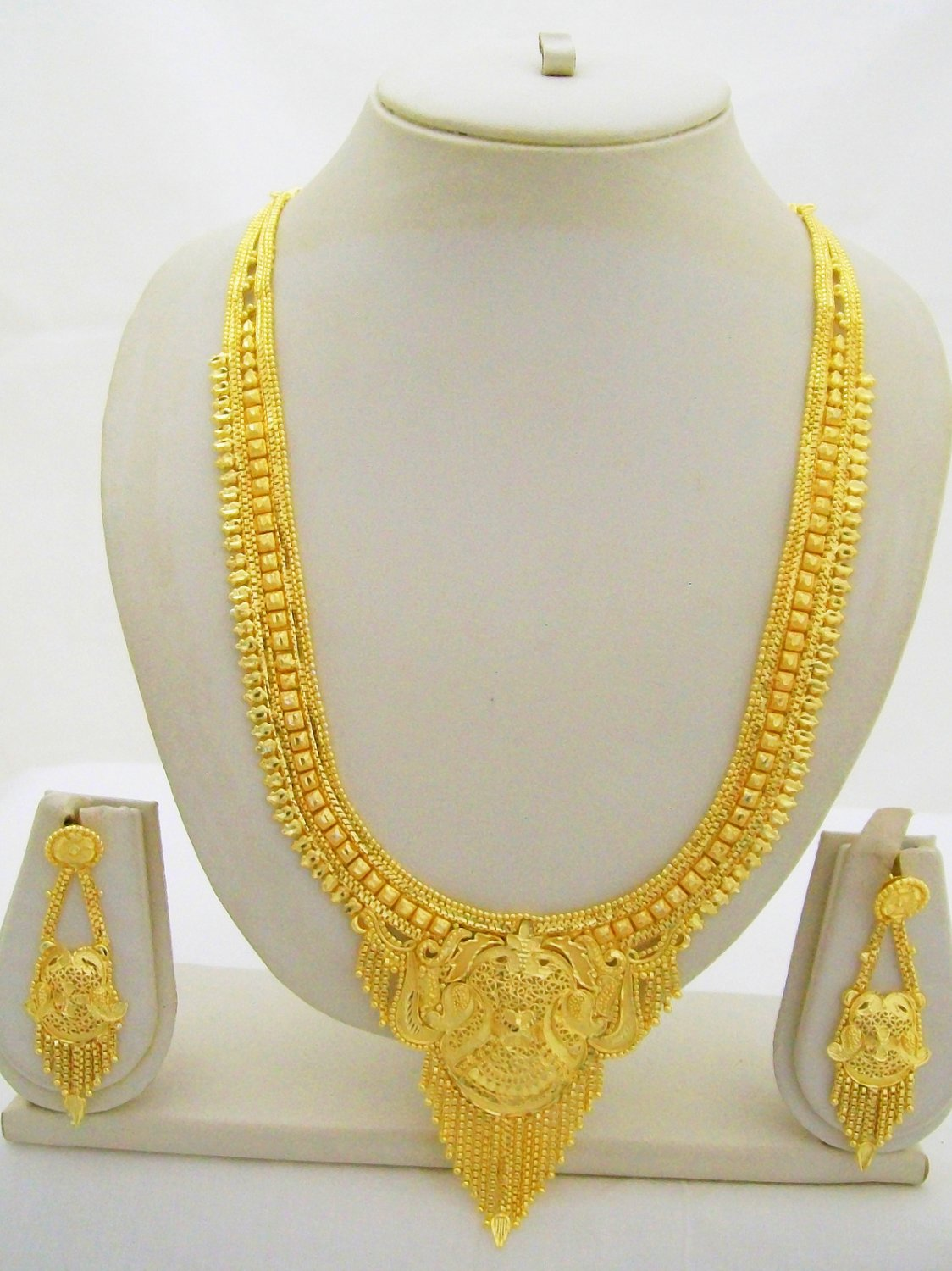 Gold Plated Indian Rani Haar Necklace Filigree Long Antique Ethnic Jewelry Set