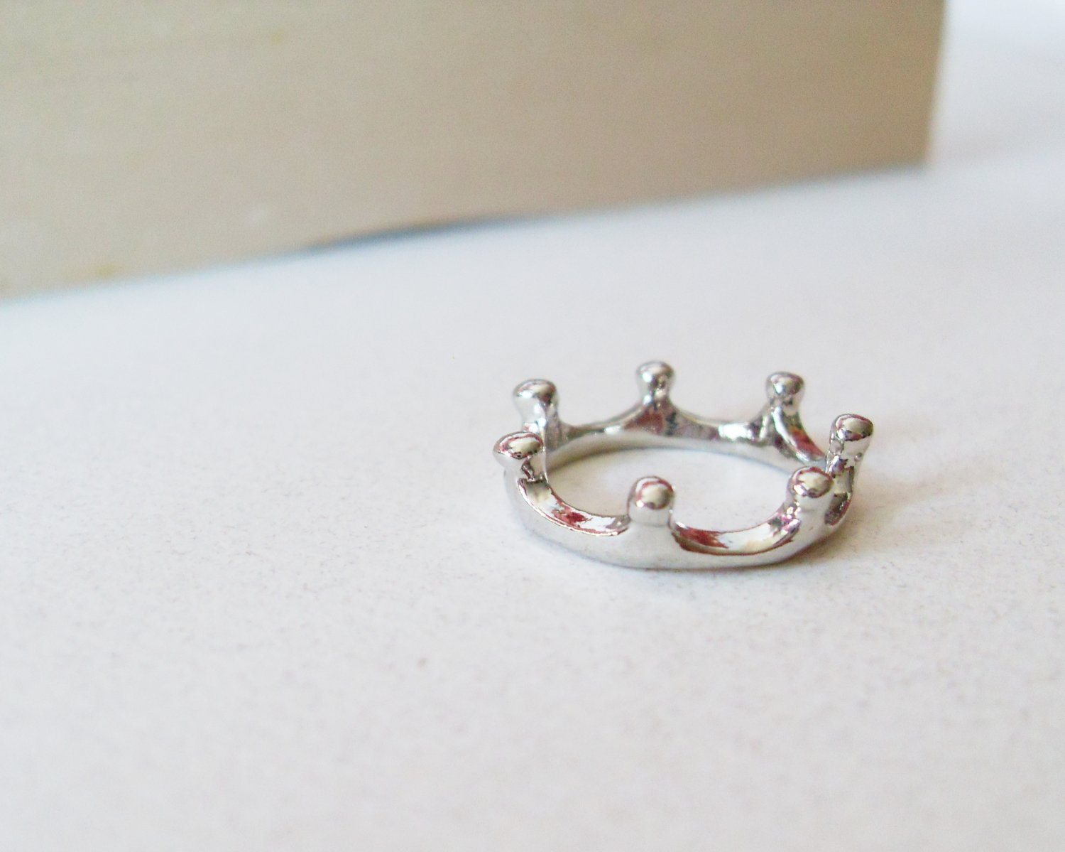silver princess crown ring a dainty silver crown ring