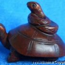 #1007 Japanese Carved Boxwood Netsuke Snake & Tortoise