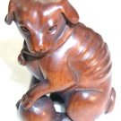 Lovely Boxwood Netsuke: Dog Playing Ball