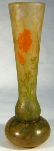 c1900 DAUM NANCY APPLIED CAMEO WHEEL CARVED GLASS VASE