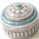 Antique Asian China Tibetan Style Silver Jewelry Box