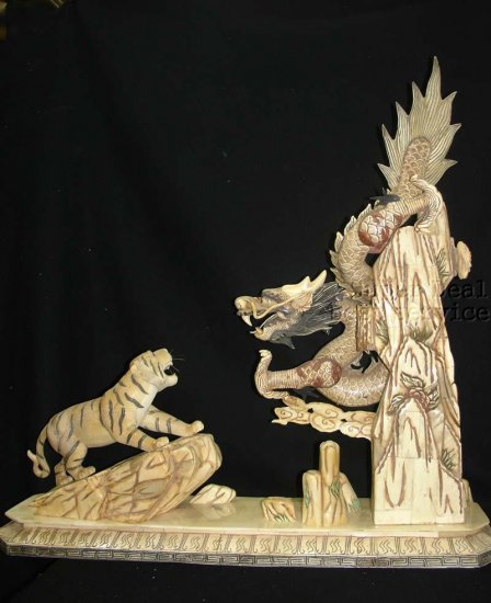 Rare China Bone Carving-Dragon Fight Tiger-QianLong