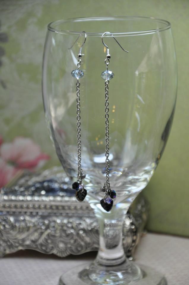 Silver Chain Bead Leaf Crystal Drop Earrings