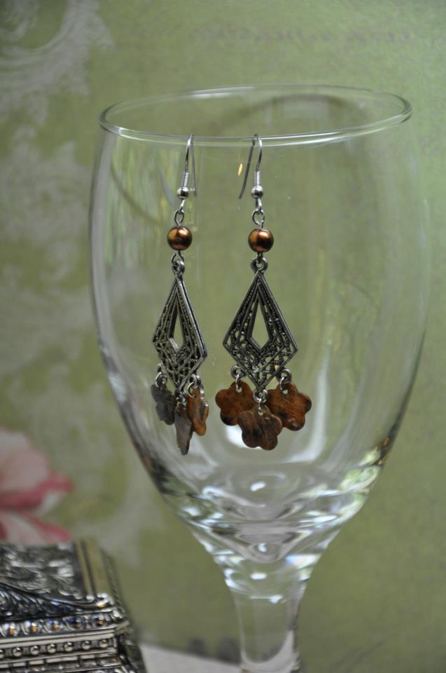 Handmade Chocolate Brown Floral Glass Pearl Chandelier Bead Earrings