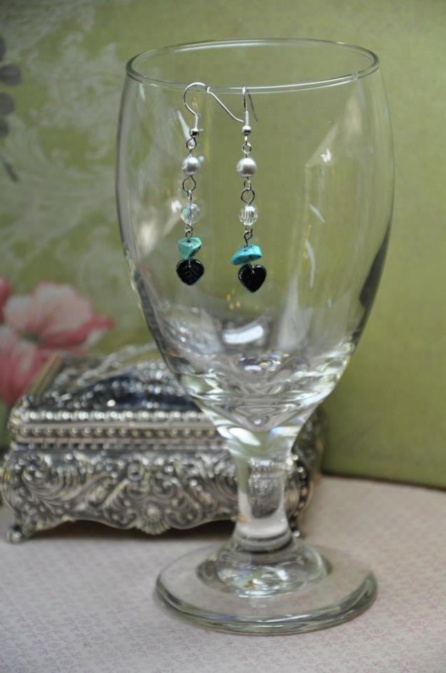 Turquoise Bead Drop Swarovski Crystal Earrings