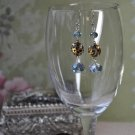 Animal Print Blue Crystal Drop Earrings