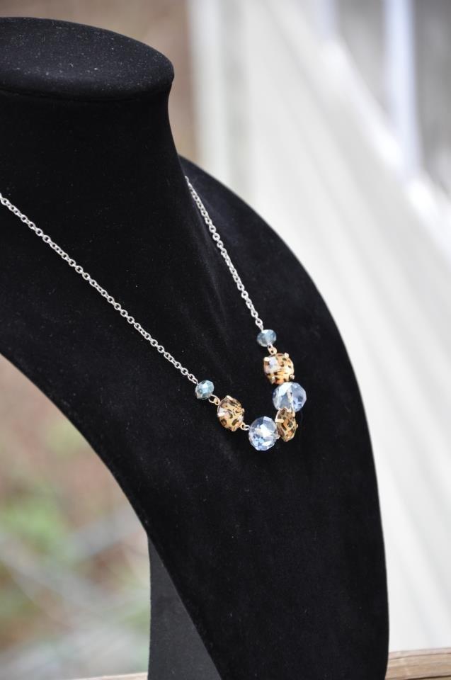 Animal Print Blue Bead Chain Necklace